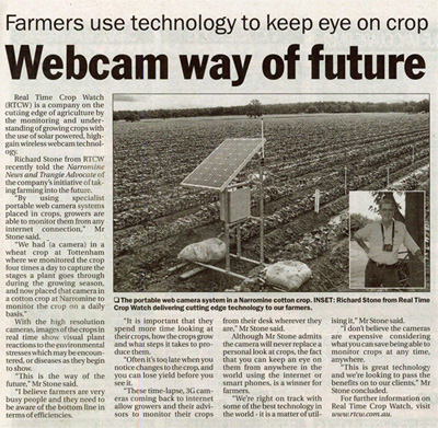 Real Time Crop Watch (RTCW) is a company on the cutting edge of agriculture